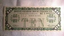 1933 MASSACHUSETTS BOSTON CLEARING HOUSE DEPRESSION ERA SCRIP$10.00.PERFECT COND