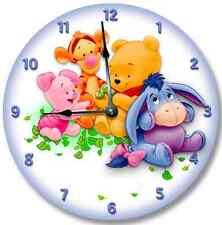 "10.5"" Baby POOH BEAR BLUE Wall clock Nursery Art Personalized Decor - 7195_FTLLC"