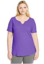 NWT Just  My Size 2X Cotton Blend S/S Split Neck Tee Top Bright Plum