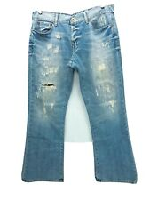 Guess Jeans Mens 38x32 Falcon Slim Boot Blue Jeans Factory Destroyed Denim