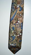 THE DISNEY STORE Taupe Blue Paisley Mickey Mouse 100% Silk Tie Made in USA