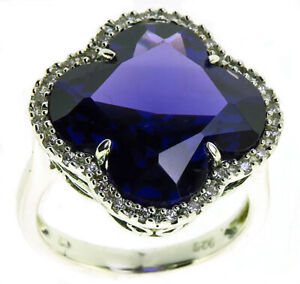 Silver purple stone cubic zirconia cluster dress ring size M
