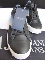 New Armani Jeans AJ Black Blue Stripes Leather Shoes Fashion Dressy Sneakers 7