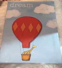Dream Inspirational Art Work With Giraffe In An Air Ballon.