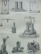ANTIQUE PRINT DATED C1870'S VOLTAIC ELECTRICITY ENGRAVING ELECTRO MAGNET DYNAMO