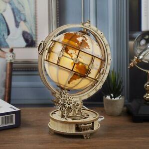 3D wooden puzzle ROKR Luminous Globe Mechanical Gear Led Light DIY wooden kit