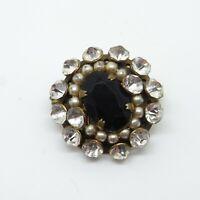 Old Black Gem and Rhinestone Brooch - Vintage Pin / Badge