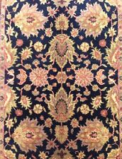 Beautiful Black - Indian Agra - Floral Design Rug - Oriental Carpet 4.2 x 6.3 ft