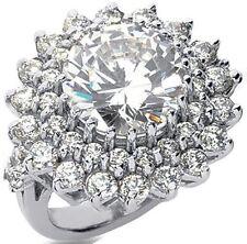 5.27 carat total, 3 ct center Round Diamond Engagement Wedding 14k Gold Ring