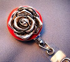 """Rose ID Reel Badge Antique Inspired Silver/Red-Safety Proof for RN Teacher 25"""""""