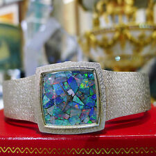 RARE Longines 14k Solid White Gold Mosaic Opal Dial Hand Winding Watch 50.7g