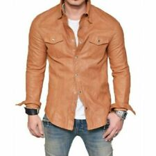 Men's Real Leather Police Shirt Cuir Shirt Bluf Gay Bikers Lederhemd Tan