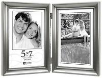 Malden International Designs Concourse Pewter Metal Hinged Picture Frame, Double