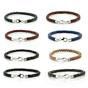 Mens leather bracelet With Sterling silver clasp Braided Colour Choice