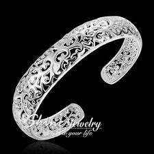 925 Sterling Silver Filled Wider Chunky FILIGREE VINTAGE Cuff Bangle womens Gift