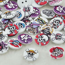 100pcs 20mm Halloween Wood Buttons Skull Head Sewing Crafts Accessories WB86