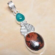 """Handmade Obsidian Mahogany Jasper 925 Sterling Silver Pendant 2.75"""" #P10705"""