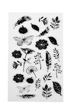 Clear Acrylic LEAVES FLOWERS BUTTERFLIES FEATHERS Cardmaking 25 Stamps Set