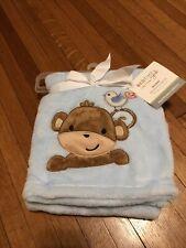 New ListingLight Blue Plush Style Baby Toddler Blanket Monkey Bird