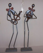 "Vintage set 2 Metal Saxophone & Guitar Player Musician Figurine Sculpture 25"""