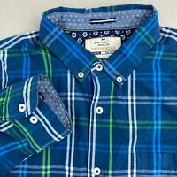 On The Road Button Up Shirt Mens 2XL Blue Green Long Sleeve Slim Fit Plaid Shirt