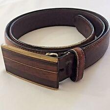 36 Kenneth Reid Inlaid Wood Buckle Belt Brown Full Grain Leather Albuquerque NM