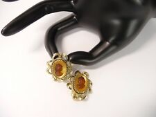 Vintage Estate Find Cameo Clip On Gold Tone  Earrings USA Seller