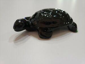 Vintage Frankoma dark Brown to black Turtle Paperweight Figurine original label