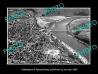 OLD LARGE HISTORIC PHOTO OF TUNKHANNOCK PENNSYLVANIA, AERIAL VIEW OF CITY c1935
