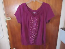 "Womens Croft & Barrow Size XL Purple Top With Design & Draw String "" BEAUTIFUL T"