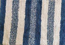 Spa Style Blue n White Stripe Bathroom Rug 60x40 cm Absorbent Plush Cotton 2 pcs