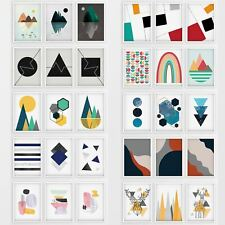 More details for abstract wall art set of 3 framed modern prints nordic designs geometric posters