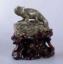 k13839 188mm Carved rhyolite jasper chameleon lizard figurine decor w/ stand