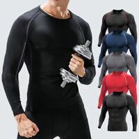 Mens Compression Base Layer Training Long Sleeve Shirt Gym Sport Running Pants