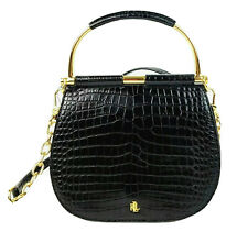 Ralph Lauren Satchel Small Embossed Leather Mason Handbag (Black)