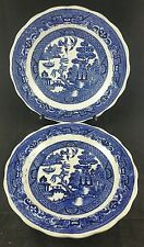 """Pair of Antique Tableware Willow Pattern Dinner Plates, 10"""" wide Unmarked"""