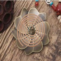 Incense Stick Burner Holder Floral Pattern Ash Catcher Zinc Alloy Censer Plate D