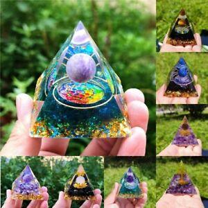 Amethyst Pyramid Crystal Healing Orgonite Chakra Energy Orgone Home Ornaments
