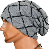 Mens Knitted Cotton Hats Winter Warm Skull Beanies Hip-hop Baggy Slouchy Caps