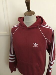 """ADIDAS HOODED SWEAT SHIRT TOP SIZE X SMALL 34"""" CHEST RED"""