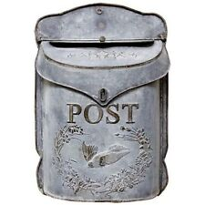 Rustic Vintage Style Decorative Galvanized Metal Tin Bird Post Mail Letter Box