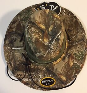 Men's Realtree Edge Stretch-Fit, L/XL, Wide Brim Safari Hat in Camouflage or Tan