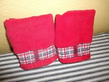 TOMMY HILFIGER RED & BLUE PLAID (2PC) WASHCLOTHS 100% COTTON  10 X 11