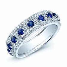 Blue Sapphire Diamond Wedding Band Ring 14K White Gold Round Womens Engagement