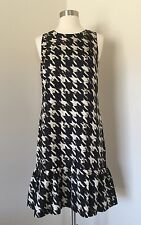 JCrew $110 flounce silk dress in wolfstooth 2 Tall ivory black f9400 NEW
