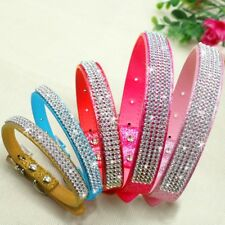 Girl Dog Collars Leather Shiny Diamante Small Medium Dog Necklace Pink Red Gold