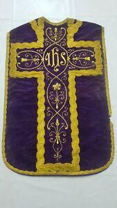 Antique French Embroidered Velvet Christian Vestment Chasuble Priest IHS (V19)