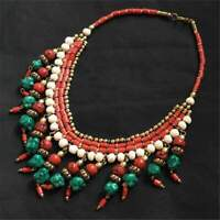 Hand Strung Tibetan Beads Turquoise and Coral Nepalese Bohemian Necklace