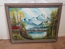 Signed R.S. Fishing In Private Lake Alone Framed 28X22 Oil On Canvas EUC Paint