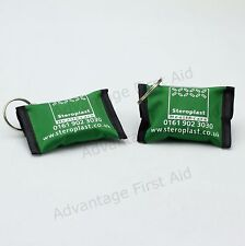 2 x CPR Resuscitation Face Shield / Resus Aid in Compact Green Key Ring Pouch